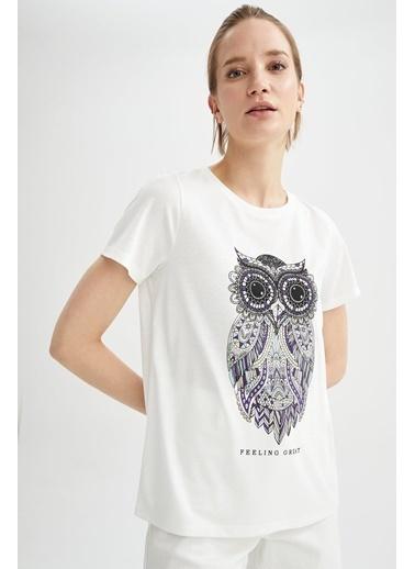 DeFacto Baykuş Baskılı Relax Fit Kısa Kollu T-shirt Ekru